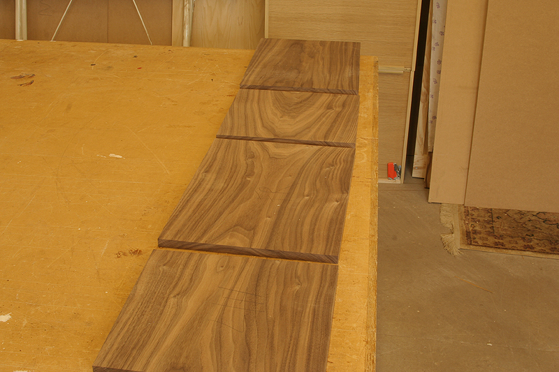 walnut board cut into sections