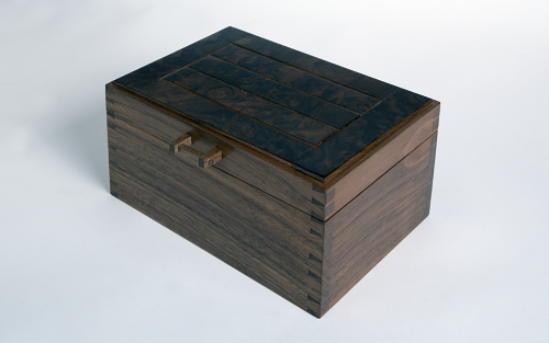 Jewellery box in walnut with burr walnut lid panels