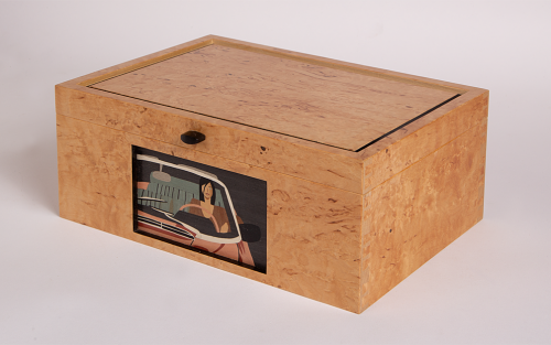 Masur birch veneered jewellery box with inset marquetry panel